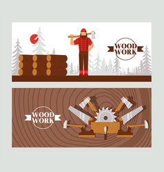 Woodworking banner character lumberjack with axe vector