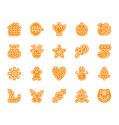 xmas gingerbread color silhouette icons set vector image