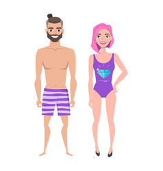 young man and women in beach swimsuit vector image