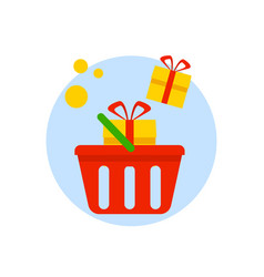 basket with gift boxes isolated on white vector image vector image
