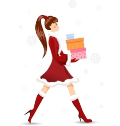 girl with christmas gifts vector image