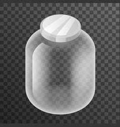 isometric empty glass pot jar sign transparent vector image vector image