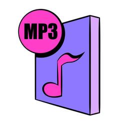 mp3 file icon cartoon vector image vector image