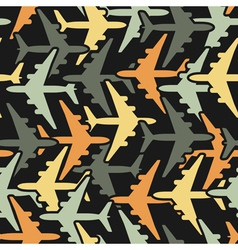 Seamless background pattern with airplanes vector image