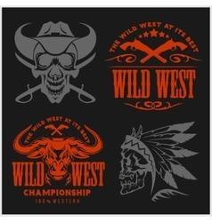 Set of vintage cowboy emblems labels badges vector image vector image