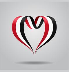 yemeni flag heart-shaped ribbon vector image vector image