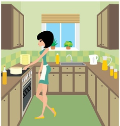 young woman on kitchen vector image vector image