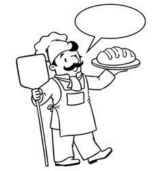 Coloring book of funny cook or baker with bread vector
