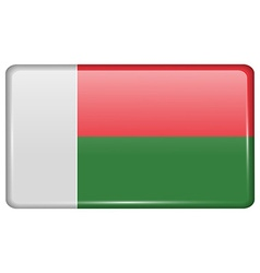 Flags Madagascar in the form of a magnet on vector image