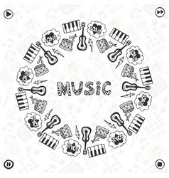 hand drawn music frame musical sketch icons vector image