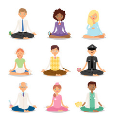 meditation yoga people relaxation procedure vector image vector image