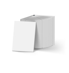 Stack of gray books on white mockup template vector