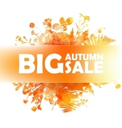 Autumn big sale - watercolor banner with orange vector image