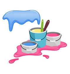 buckets with paint splashes of paint vector image