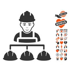 builder management icon with valentine bonus vector image