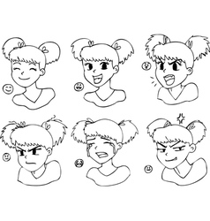 Coloring manga girl face vector image vector image