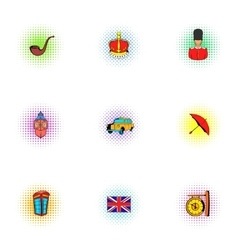 Country United Kingdom icons set pop-art style vector image