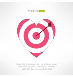 Red and white heart target icon with an arrow vector image vector image