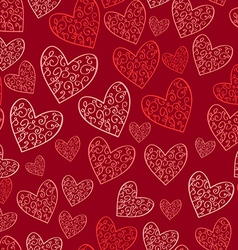Seamless red pattern with hearts vector image vector image