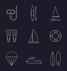 Set of water sport line icons isolated vector image
