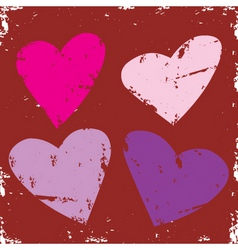 valentine grunge hearts vector image vector image
