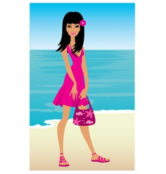 Young woman on a beach vector
