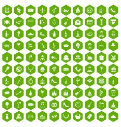100 banquet icons hexagon green vector