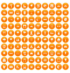100 view icons set orange vector