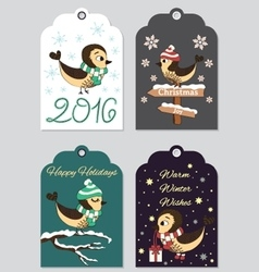 4 Christmas gift tags with hand drawn birds vector