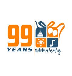 99 years gift box ribbon annivers vector