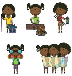 African-American camping girls vector image