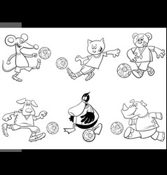 animal soccer players cartoon characters vector image