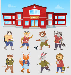animals students near school vector image