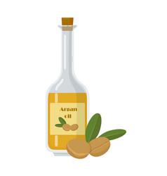 Argan oil bottle or jar and fruit with leaf vector