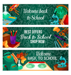 back to school stationery sale web banners vector image