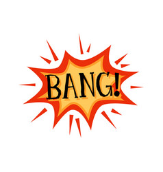 bang - text on badge in explosion shape cartoon vector image