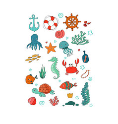 big set of marine sea theme vector image