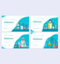 Biohazard chemists brochure cards set vector