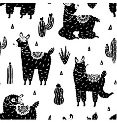 black and white llamas seamless pattern cute vector image