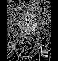Black and white spirit shaman surreal fantas vector