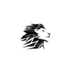 Black creative geometric lion head logo symbol vector