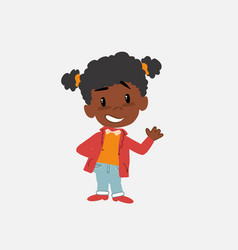 Black girl showing something in positive attitude vector