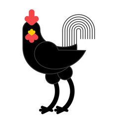 black rooster isolated cock on white background vector image