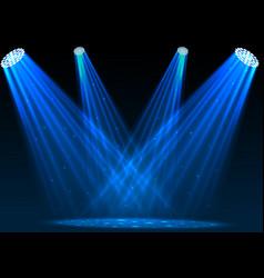 blue spotlights with white podium on dark backgrou vector image