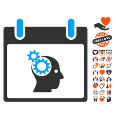 Brain gears calendar day icon with dating bonus vector