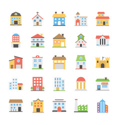 Buildings flat icons collection vector