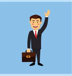 Business man professional marketing say hello vector