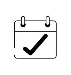 Calendar check mark reminder cargo delivery line vector