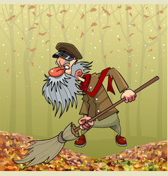 cartoon angry bearded janitor sweeping broom in vector image