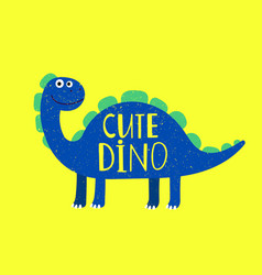 Cartoon cute dino flat style isolated on yellow vector
